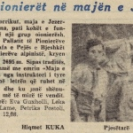 1977 Newspaper article about the climbing of Mount Jezerca